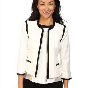 Calvin Klein | white jacket blazer black piping